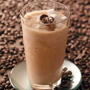 cappucino smoothie  Ingredients  1 cup (8 ounces) cappuccino or coffee yogurt  1/3 cup whole milk  3 tablespoons confectioners' sugar, optional  1 tablespoon chocolate syrup  1-1/2 cups ice cubes  1/2 cup miniature marshmallows, divided  Directions  In a blender, combine the yogurt, milk, sugar if desired and chocolate syrup. Add ice cubes and 1/4 cup marshmallows; cover and process until blended.