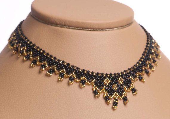 Modern Ukrainian Handmade Jewelry Beads Beaded NECKLACE Gerdan: Black /GOLD