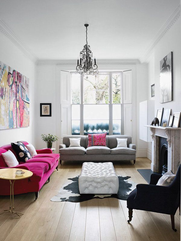 perefct-lounge.jpg (600×800) - I love this space, cool calm and collected with some interesting pieces like the pink velvet sofa, cow hide rug and abstract artwork.
