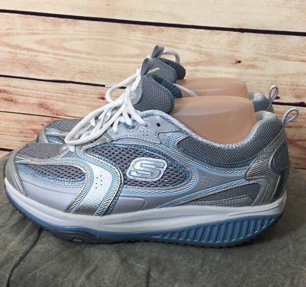 SKECHERS Shape ups shoes 12320 Silver White Blue Women's Size 7 walking gym  #Skechers #WalkingHikingTrail
