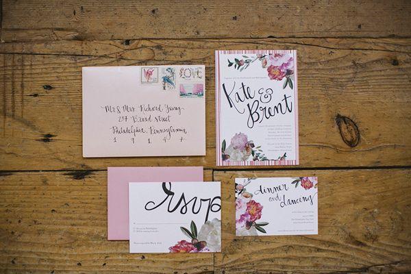 Philadelphia Industrial Wedding on @Ruffled | floral wedding invitations by Miss Wyolene