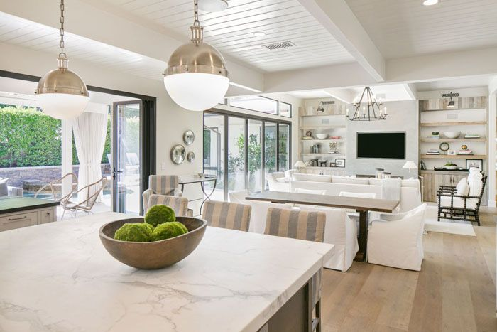 White kitchen living room open floor plan pictures