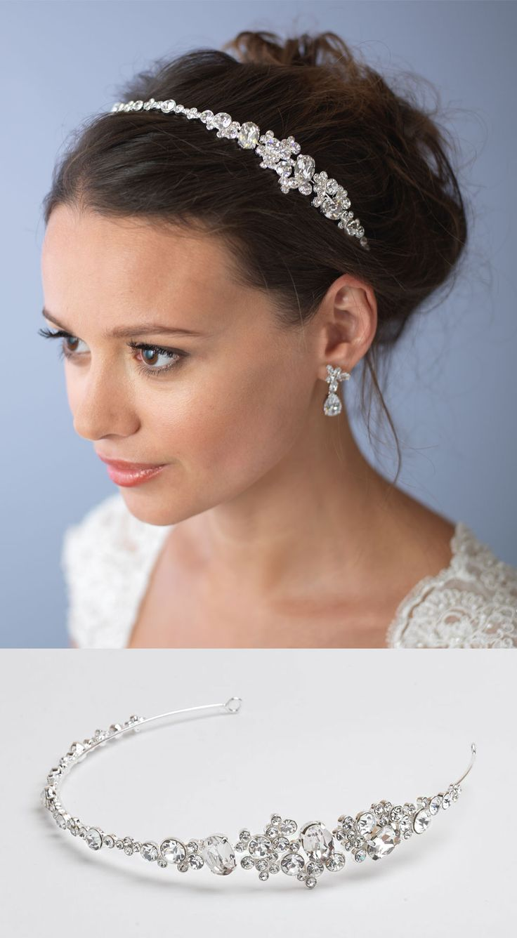 Elegant bridal side headband features clusters of rhinestones that will sparkle and shine on your wedding day <3