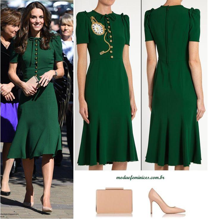 Princesa Kate Midetlon de vestido verde de crepe Dolce e Gabbana - green dress crepe Dg and shoes clutch LK Benett  http://modaefeminices.com.br/2017/02/09/mariana-ximenes-e-thassia-naves-copiam-o-look-da-princesa-kate-midetlon/