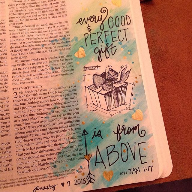 """I wasn't sure about the watercolors getting my bible page wrinkly... Until I read a post from a lady that said its okay when our journaling pages don't turn out perfect, because we are not expected to be perfect in God's eyes. So here is my watercolor and stamp page. """"Every good and perfect gift is from above."""" #james1:17 #biblejournal #bibleartjournaling #timholtz"""