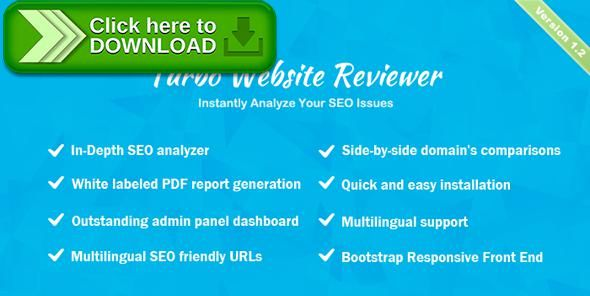 [ThemeForest]Free nulled download Turbo Website Reviewer - In-depth SEO Analysis Tool from http://zippyfile.download/f.php?id=56044 Tags: ecommerce, alexa, analyzer, competitors, facebook, google, mobile friendly, optimization, seo, seo report, seo suggestion, serp, sitemap, speed test, website comparison, whois