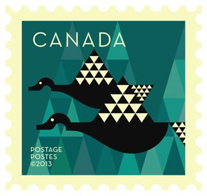 'Canada geese' Dale Nigel Goble stamp design for Canada Post.  Via Canadian Design Resource.