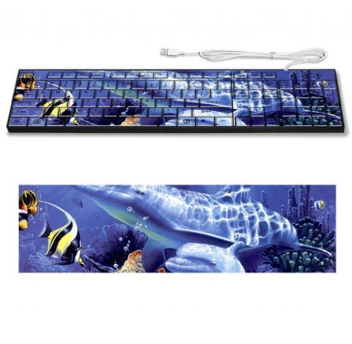 Underwater Dolphin Marine Life Fishes Keyboard Customized Made to Order Support Ready 16 7/8 inch (430mm) x 4 7/8 inch (125mm) x 15/16 inch (25mm) High Quality Liil Key board Boards desktop laptop Key_board comfortable computer accessories cute gaming gear - This extremely attractive customized graphic design keyboard is made from high quality eco material for both control and comfort. The Graphic design is printed from edge to edge and sealed so it would not bled or fade. Ec
