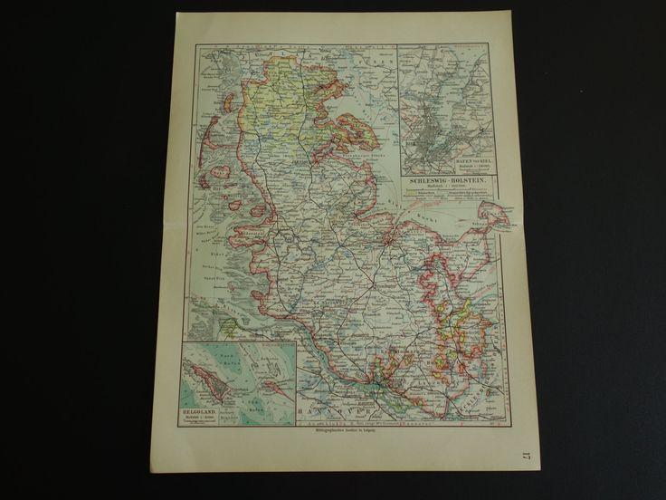 "Old map of Schleswig-Holstein 1913 original vintage poster Kiel Helgoland linguistic - alte karte von carte kaart van - 25x32,5c 10x13"" by VintageOldMaps on Etsy"