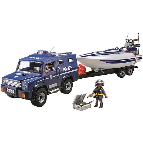 Playmobil Police Truck with Speedboat. Owen