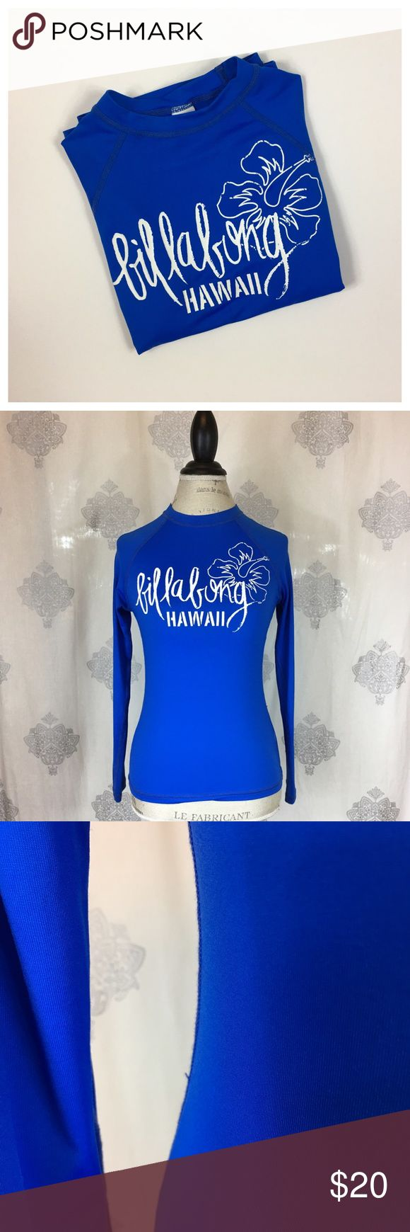 Billabong Rash Guard Bright blue rash guard with white logo graphic. Good used condition. Slight snag on side seam and spot on front of torso. Offers welcome using the Offer button. No trades. Billabong Swim Coverups