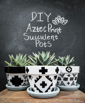 An easy How To guide for tackling these fun DIY Aztec-print Succulent Pots | DIY Succulent Pots | Black and White Succulent Pots | Black and White Pots for Plants | Cute Succulent Pots | DIY Terra Cotta Pots | Painted Succulent Pots | Aztec Pots | Aztec Pottery | Tribal Succulent Pots | Geo Succulent Pots | Gold Leaf Pots #cactus #succulents #DIYprojects