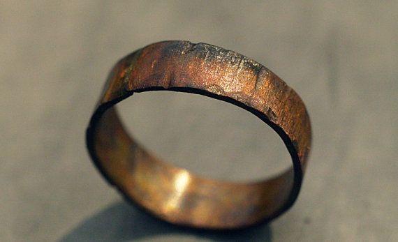 Custom Copper Ring Band for Men / Women, Wood Grain Finish, Choose Your Width, Copper Wedding Band, Alternative, Promise Ring