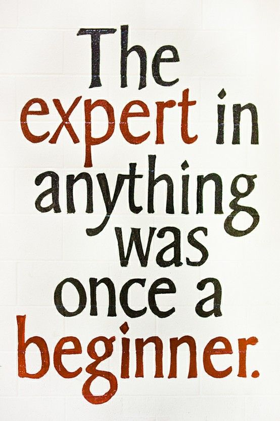 LOVE this quote! The expert in anything was once a beginner. #truth #quotes #experience #success