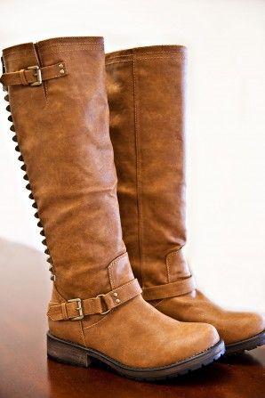Dirt Road Studded Boots- Cognac