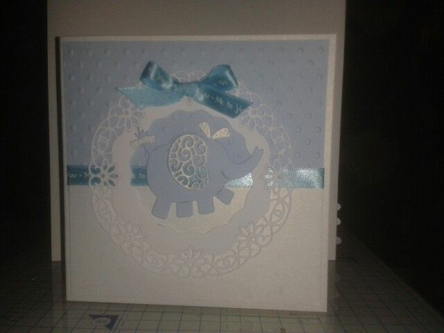 Tattered lace elephant baby card 6/1/2015
