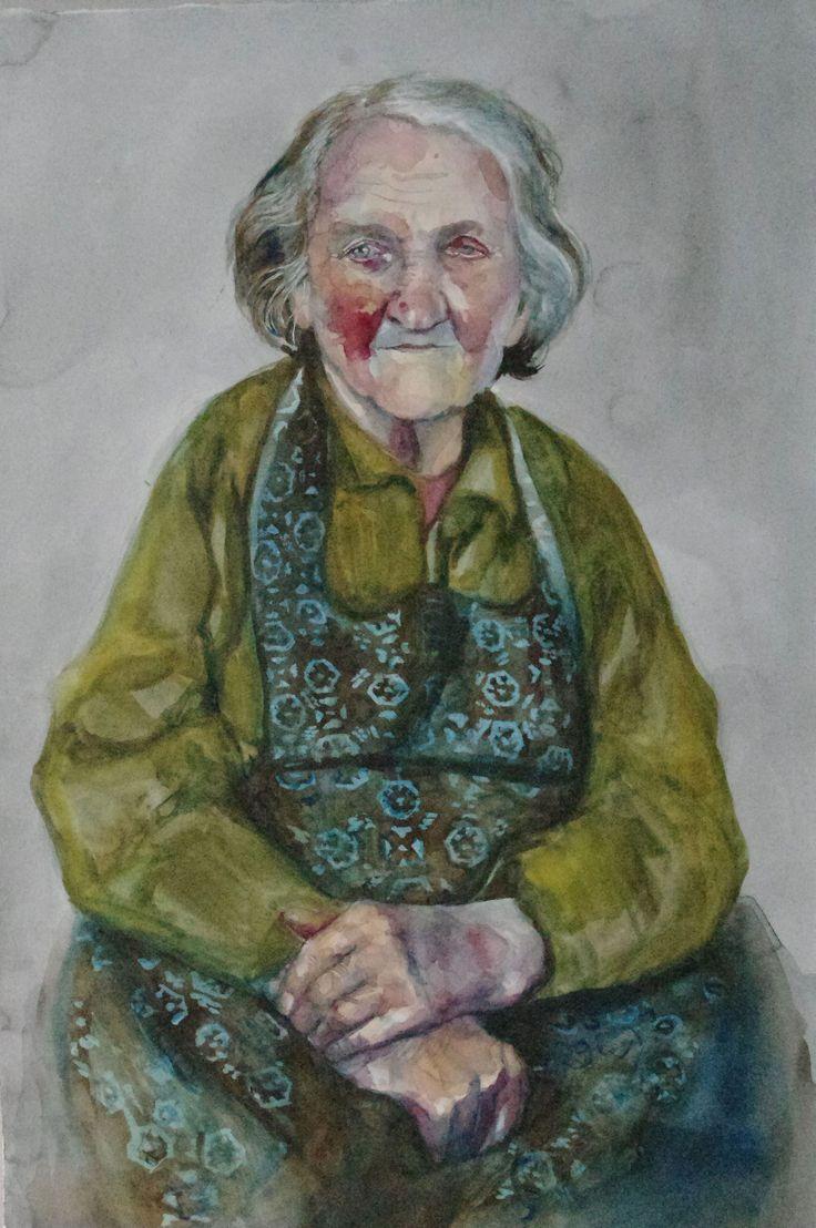 women portrait, watercolor, akwarela, aquarel