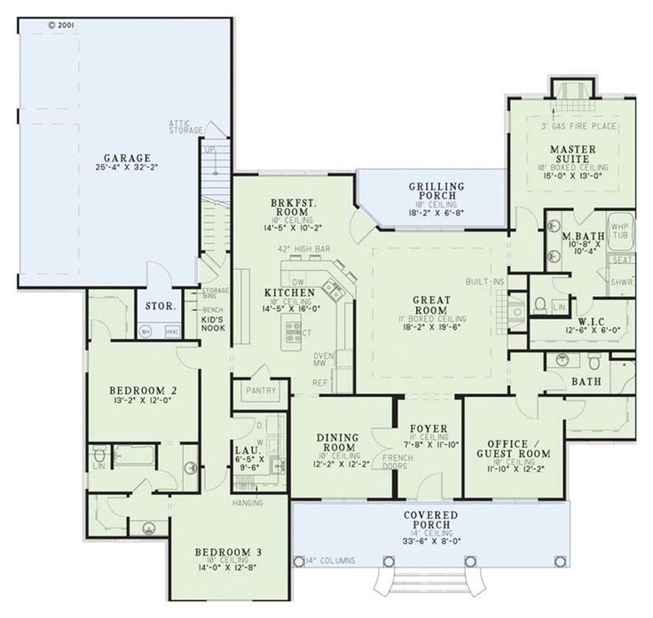 Classical Style House Plan - 4 Beds 3 Baths 2556 Sq/Ft Plan #17-1153 Main Floor Plan - Houseplans.com