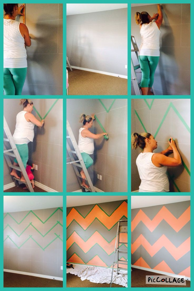 How to create a chevron accent wall? Make sure to decide first on the overall look, size,and effect your going for! We're doing a beach themed baby girl nursery. This big bold pattern reminds me of a beach towel. From the time I started measuring out the Wall to actually peeling the tape off to reveal the finished product was about a 10 hour time commitment. Totally a labour of love!