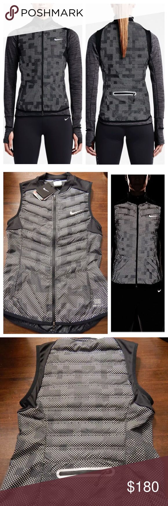 Nike womens aeroloft flash running down camo vest Brand new, authentic Nike womens aeroloft flash running down vest. $280 tags attached. This is the best running vest because you look super amazing if you just want it for a warm vest to add to your athleisure wardrobe, OR if you don't want to get hit by a car and you're running at night - this vest just might save you! :) (see the second picture to see how reflective it is.) 90% down. Super cool camo look. Nike womens aeroloft flash running…