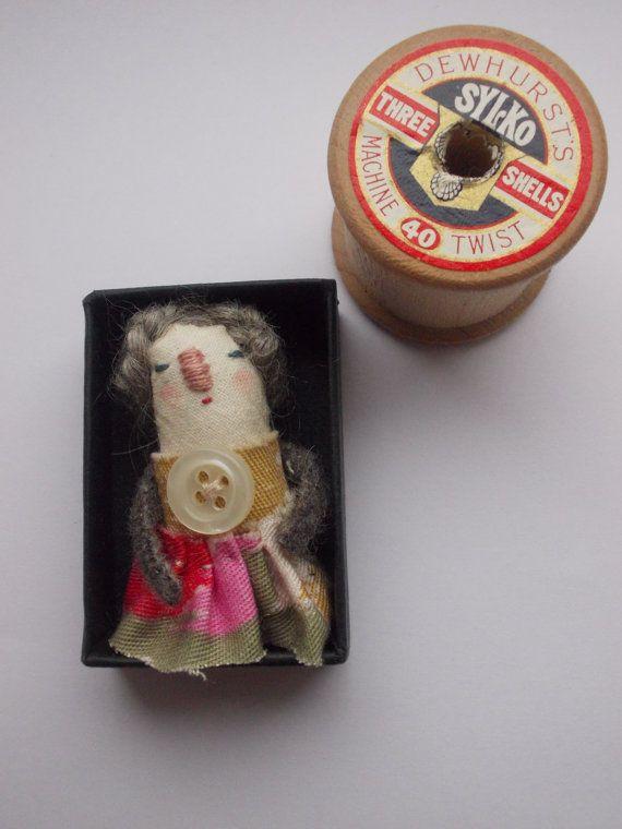 Tiny doll Framed art doll by maidolls on Etsy, £12.00