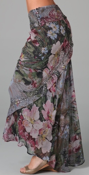 HAUTE HIPPIE  Floral Embellished Skirt  This print silk-chiffon maxi skirt features bead and sequin accents and wrap detailing. Flounce at back and 5-button closure at side.