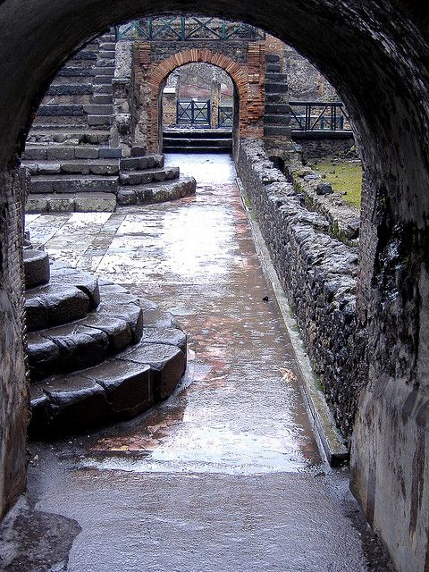 """Pompeii: The Ancient Vegas? I'm not sure of the location, but this caught my eye as I once read that the """"vacation"""" town contained numerous planks, used to avoid walking in the filthy roads."""