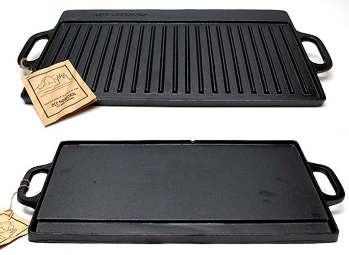 Old Mountain Cast Iron Natural Cookware Preseasoned Two-burner Reversible GrillGriddle