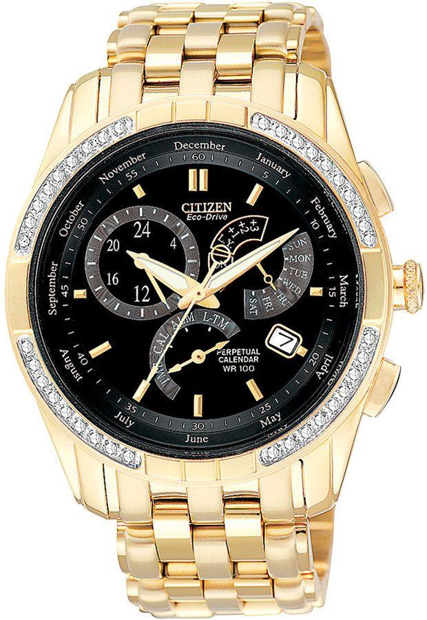 Citizen Men's Calibre 8700 Eco-Drive Diamond Accent Gold-Tone Stainless Steel Bracelet Watch 39mm BL8042-54E