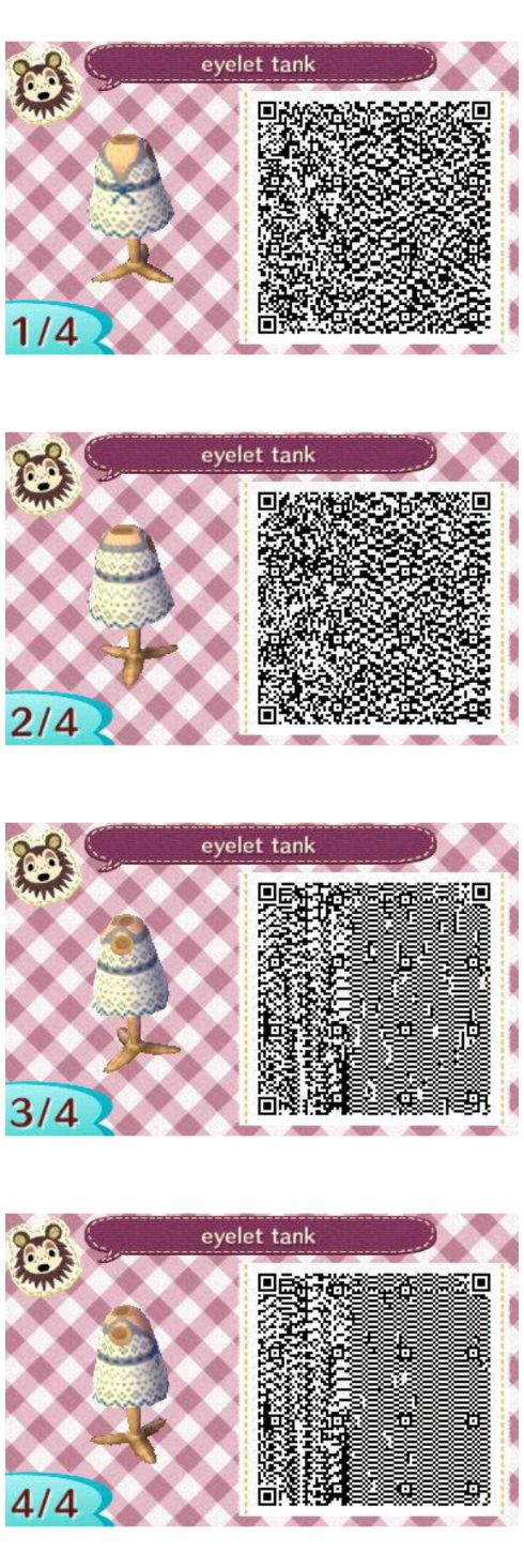 Eyelet Tank, my first design ever! Animal crossing new leaf QR codes, visit peanutfashions.tumblr.com for full resolution codes.