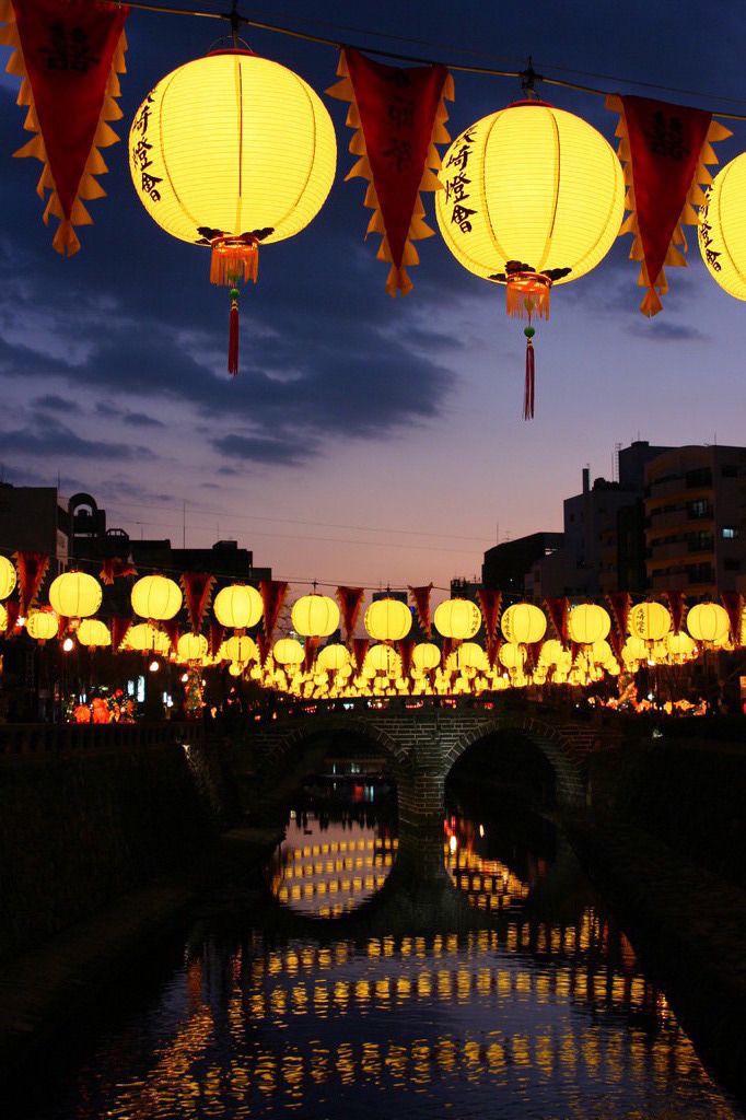Nagasaki Lantern Festival, Japan 眼鏡橋の夕暮れ