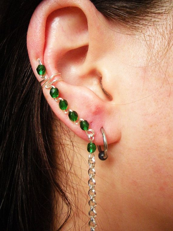 Handmade Rightside Ear cuff with Green Glass by AphroditeXchange