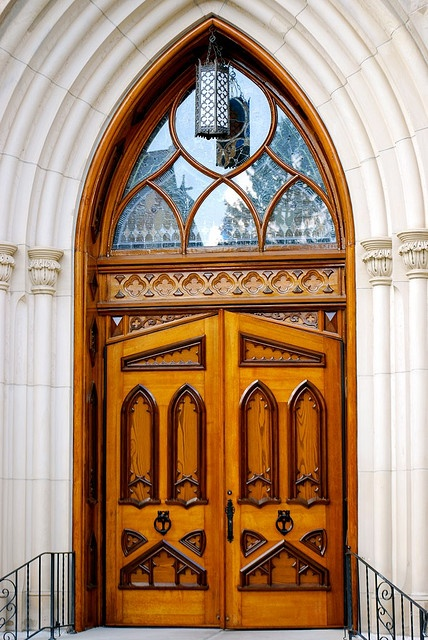 Door of  the Basilica of the Sacred Heart at Notre Dame University, South Bend, Indiana  *Does anyone else see the rabbit face in the door?