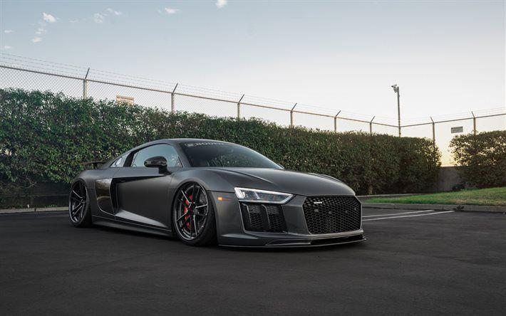 Scarica sfondi Audi R8, nero opaco, 2016, tuning R8, nero audi, v10, Boden Costruire