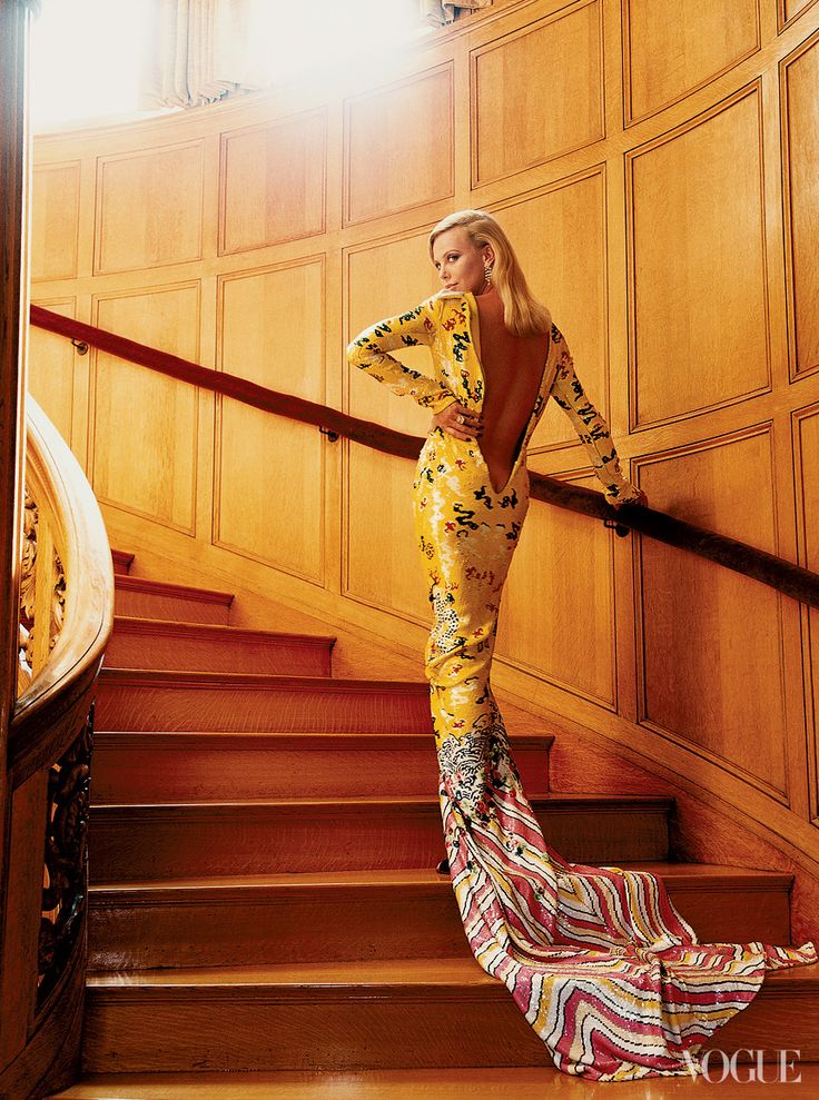 Charlize Theron in Yves Saint Laurent - Vogue by Mario Testino