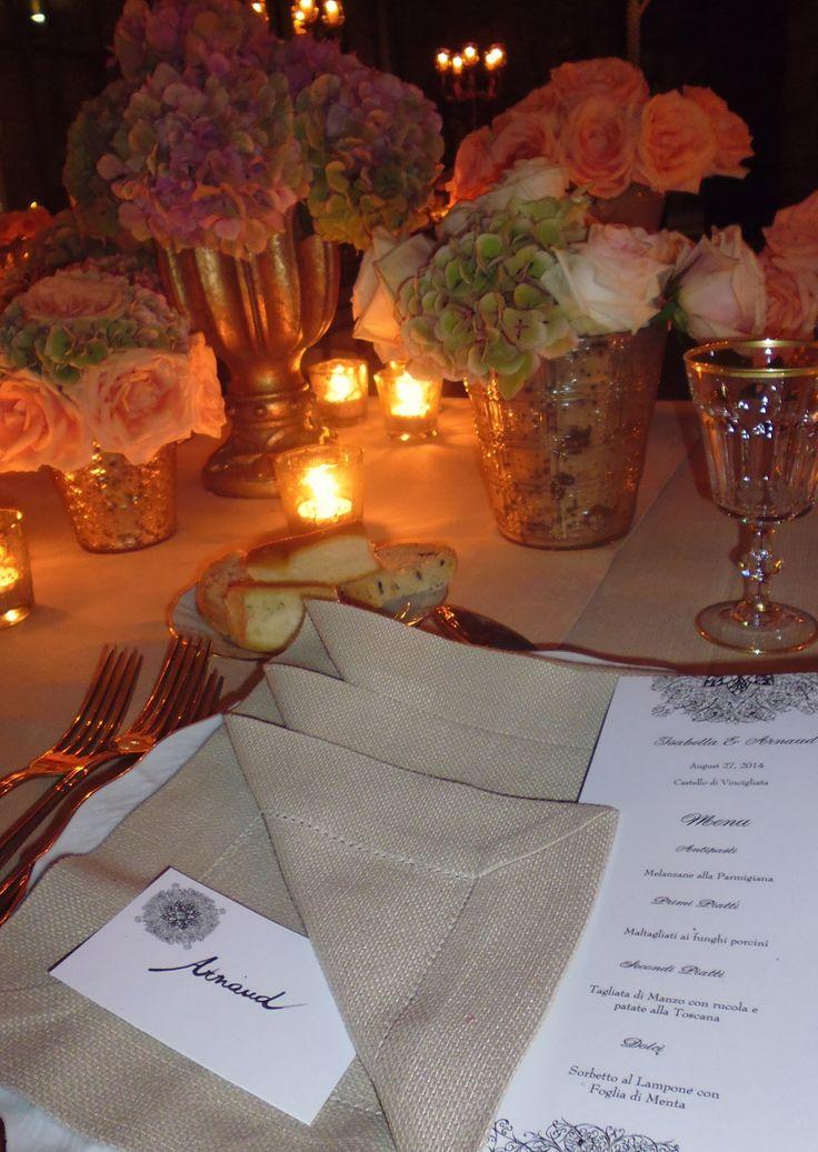 Folded linen Napkin with MENU  Destination Wedding !!!!