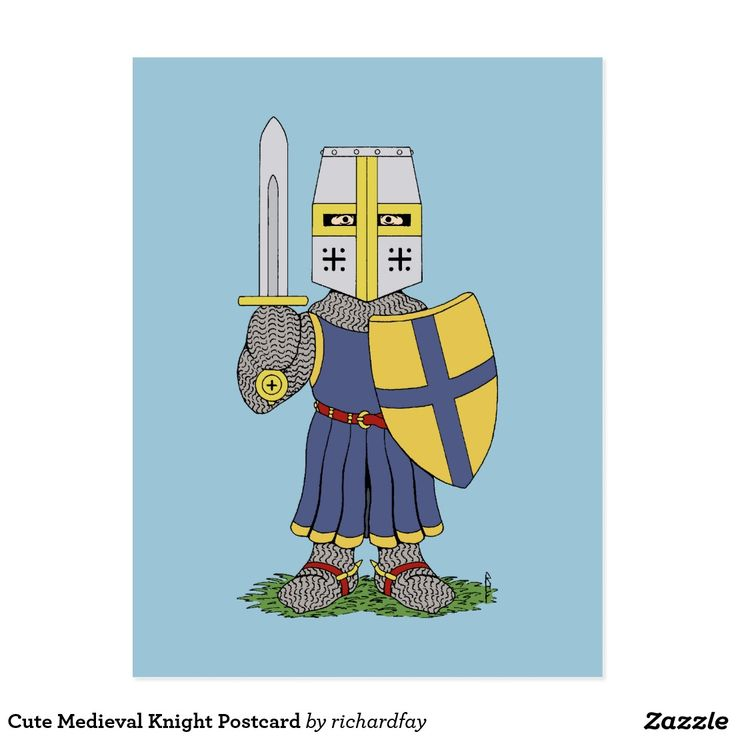 SOLD 10/3/2016 through Zazzle to a customer in Farnborough, England: one Cute Medieval Knight Postcard. #sold #zazzle #postcard #cute_medieval_knight #cute_knight #medieval_knight #mailed_knight #knight