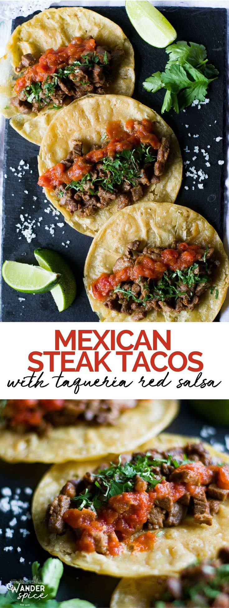 Mexican Steak Tacos - carne asada tacos with taqueria-style red salsa. Tacos | Mexican | Steak | Corn Tortillas | Red Salsa | Cilantro  #mexicanfood #tacos #recipes