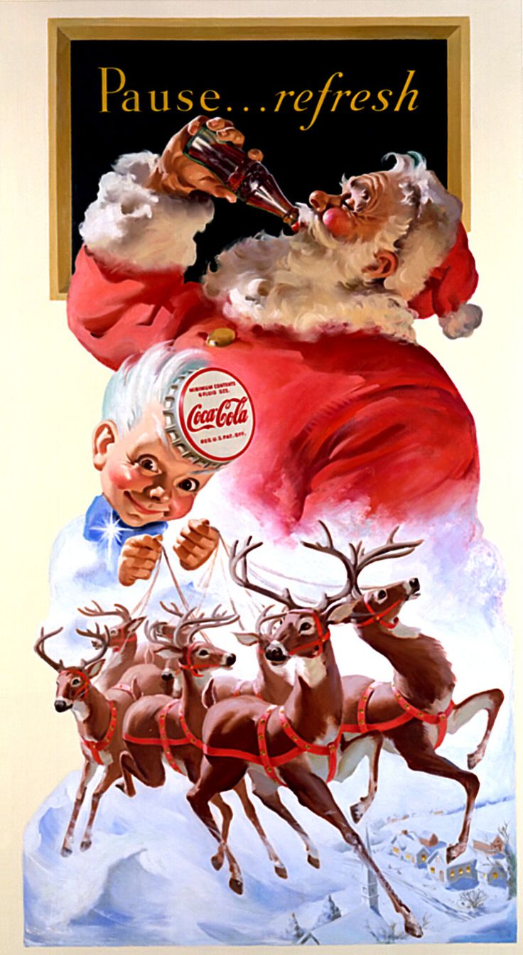 Coca cola ads images amp pictures becuo - Coca Cola And Santa Clause Illustration Ads