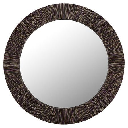 Round Wall Mirror With A Coconut Stick Frame Product