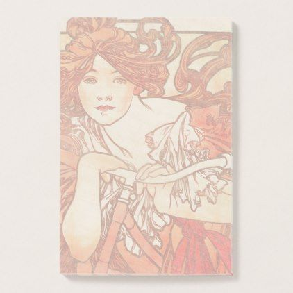 #Art Nouveau Lady Bicycle Sports Post It Notes - #office #gifts #giftideas #business