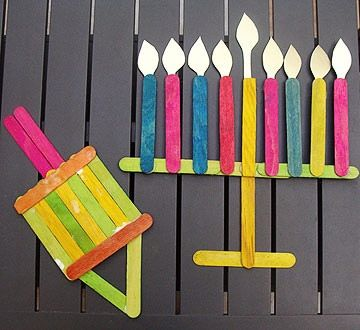 This super easy craft is great for even your littlest ones to get in on the Hanukkah crafting.                 What you'll need: popsicle sticks, acrylic paint, paintbrush, yellow construction paper, scissors, hot glue gun                 Make it: Arrange your popsicle sticks into fun, festive Hanukkah decorations like a dreidel or a menorah. Paint the sticks, and then use a hot glue gun to attach the sticks to form the shapes. For the menorah, cut flames from construction paper and glue…