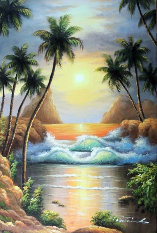 Painting: Island Sunset Surf Waves Hawaii Tahiti Shore Palms Stretched 24X36 Oil Painting