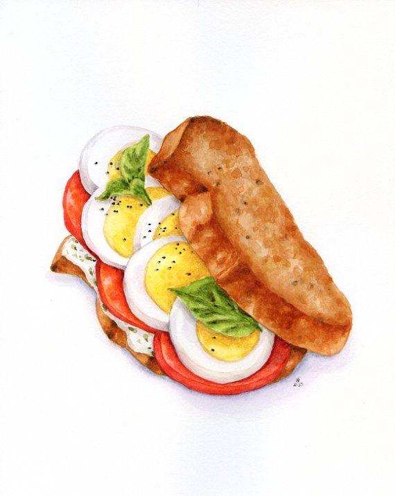 Tomato and Egg Sandwich - ORIGINAL Painting (Still Life, Kitchen Wall Art, Watercolour Food Illustration) 8x10