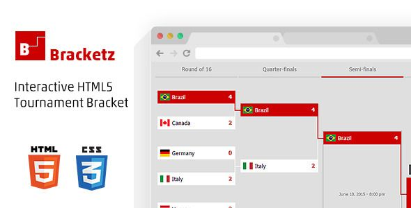 Bracketz, Interactive HTML5 Tournament bracket . Brackets is an interactive HTML5 tournament bracket template, it is great for anyone who needs to show avisual and interactive single elimination tournament brackets or a playoffs tree on their web-site with the ability of highlighting winner and looser teams