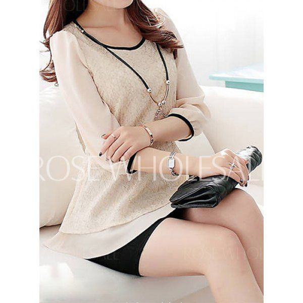 Lace Splicing 3/4 Sleeve Scoop Neck Flounce Design Layered Hem Chiffon Blouse For Women