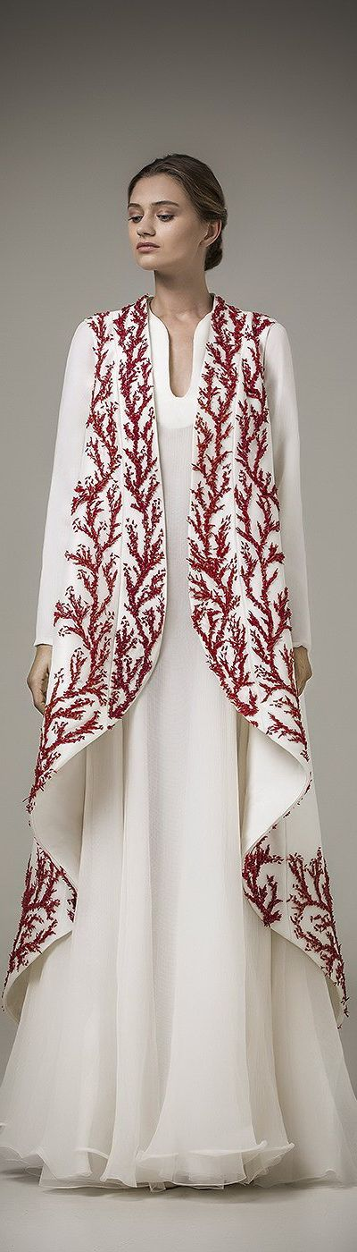 OUTFIT: | White Maxi Dress + White Coral Patterned Coat or Floor-Length Vest on top! | (ashi studio resort 2016)