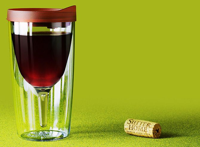 The Vino2Go™ tumbler - insulated wine glass with lid.  I need this!!
