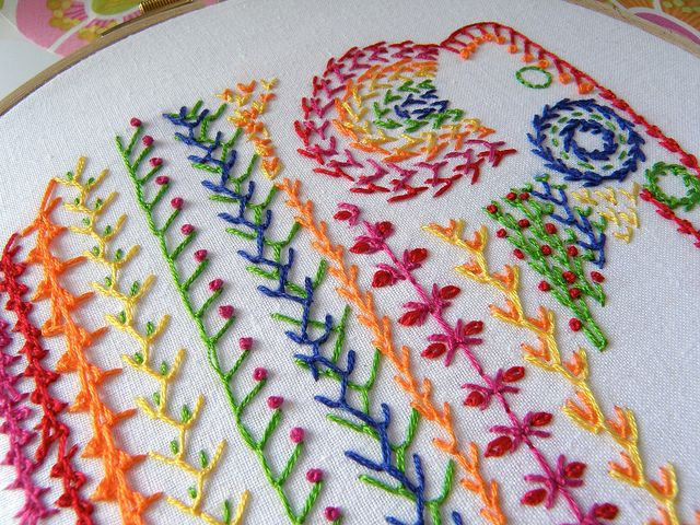 Knotted feather stitch sampler for TAST2013 by the stitchsmith, via Flickr