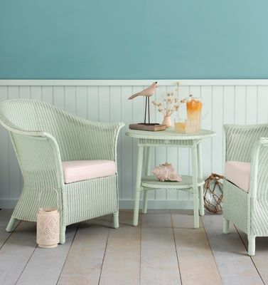 Beach-inspired setting Create a soothing beach-inspired setting with soft sea colours – crossover tones that are neither blue nor green. The wall is painted in Resene Kumutoto, the tongue-and-groove panelling in Resene Carefree and the floorboards whitewashed in a diluted Resene Relax. Even the Lusty Lloyd Loom Eton chairs and Brighton table are painted, in Resene Kandinsky.